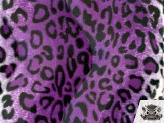 Velboa Faux / Fake Fur Leopard PURPLE BLACK WHITE Fabric By the Yard