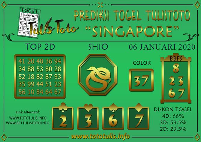 Prediksi Togel SINGAPORE TULISTOTO 06 JANUARI 2020