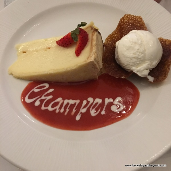 white chocolate cheesecake at Champers Wine Bar & Restaurant in Christ Church, Barbados