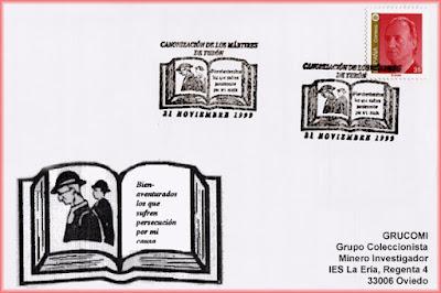 Tarjeta del matasellos dedicado a la canonización de los Mártires de Turón