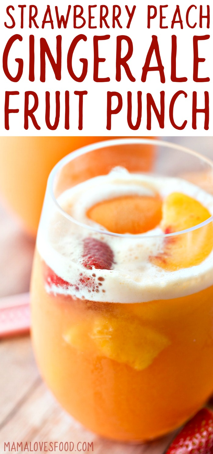 Strawberry Peach Ginger Ale Sherbet Fruit Punch Recipe