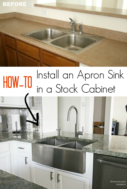 How to modify a stock cabinet and install and apron front sink.