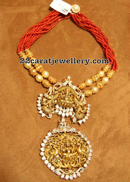Coral Beads Set Two Step Pendant Jewellery Designs