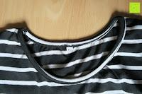 Kragen: AIYUE Frauen Monochrom Streifen mit kurzen Hülsen Etuikleid Figurbetontes Kleid Partykleid Clubwear