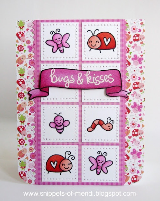 Lawn Fawn Bugs & Kisses Valentine's Day Card by Mendi Yoshikawa (with papers from Doodlebug's Lovebugs collection)