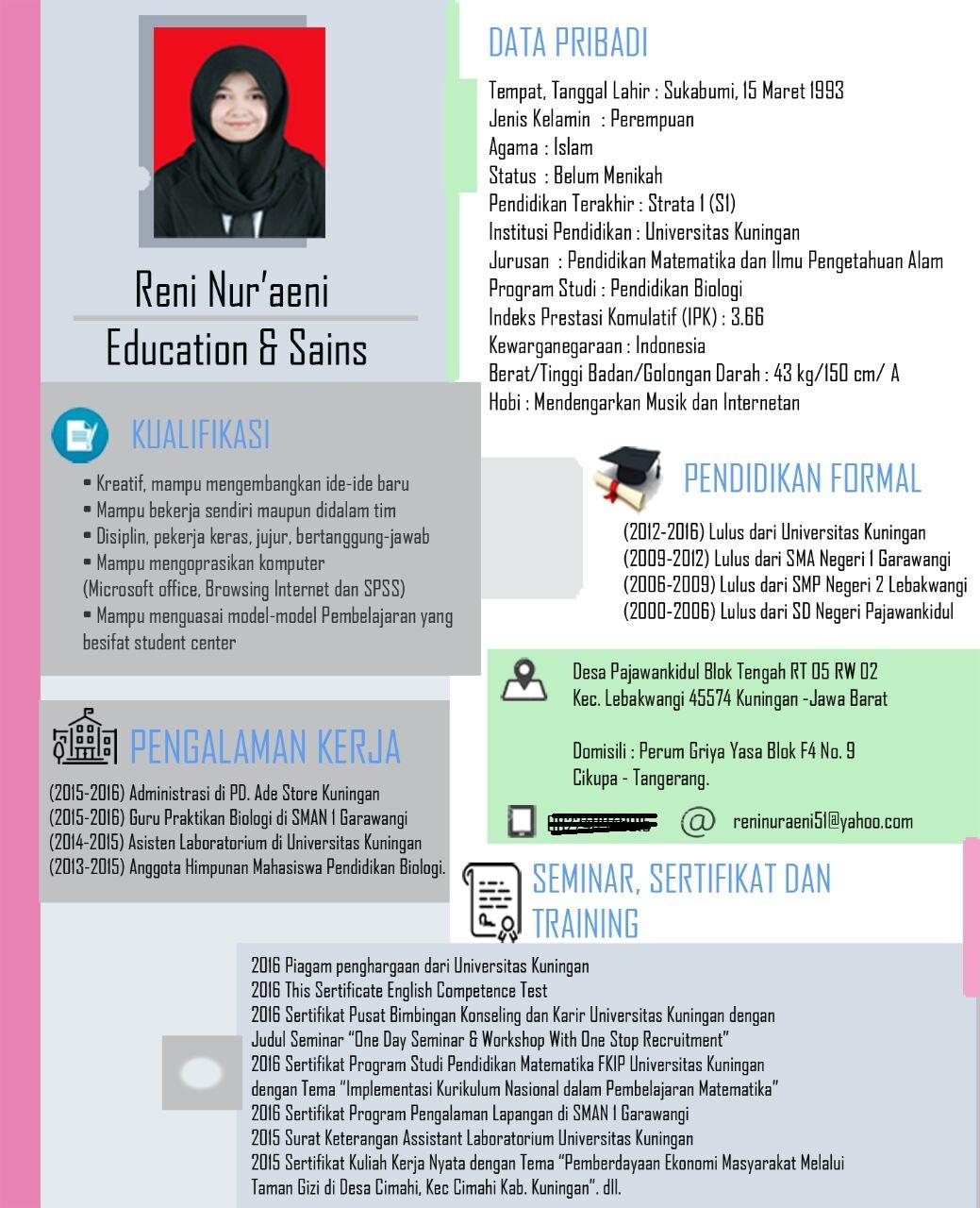 Contoh CV Menarik Versi Modern ~ Loker Kuningan | Lowongan Kerja ...