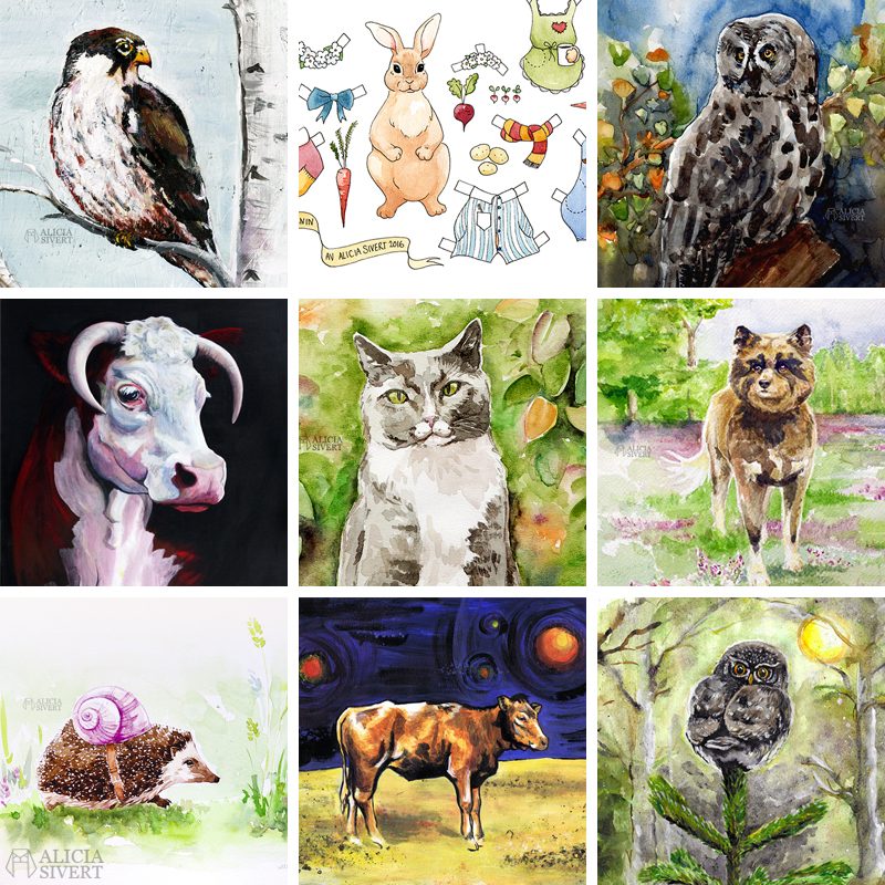 konst kreativitet skapa skapande monthly makers aliciasivert måleri målning akvarell akryl djur ko kossa katt hund uggla fågel fåglar kor aquarelle water colour vattenfärg acrylics painting acrylic¨