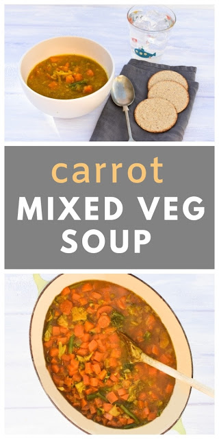 Easy Carrot & Mixed Vegetable Soup. An easy carrot and mixed vegetable soup to use up leftover vegetables in your fridge or frozen mixed vegetables. Low calorie & low fat. #52diet #52dietsoup #52dietrecipe #carrotsoup #vegetablesoup #lowcaloriesoup #easysoup #lowfatsoup #dietsoup #vegansoup #carrots