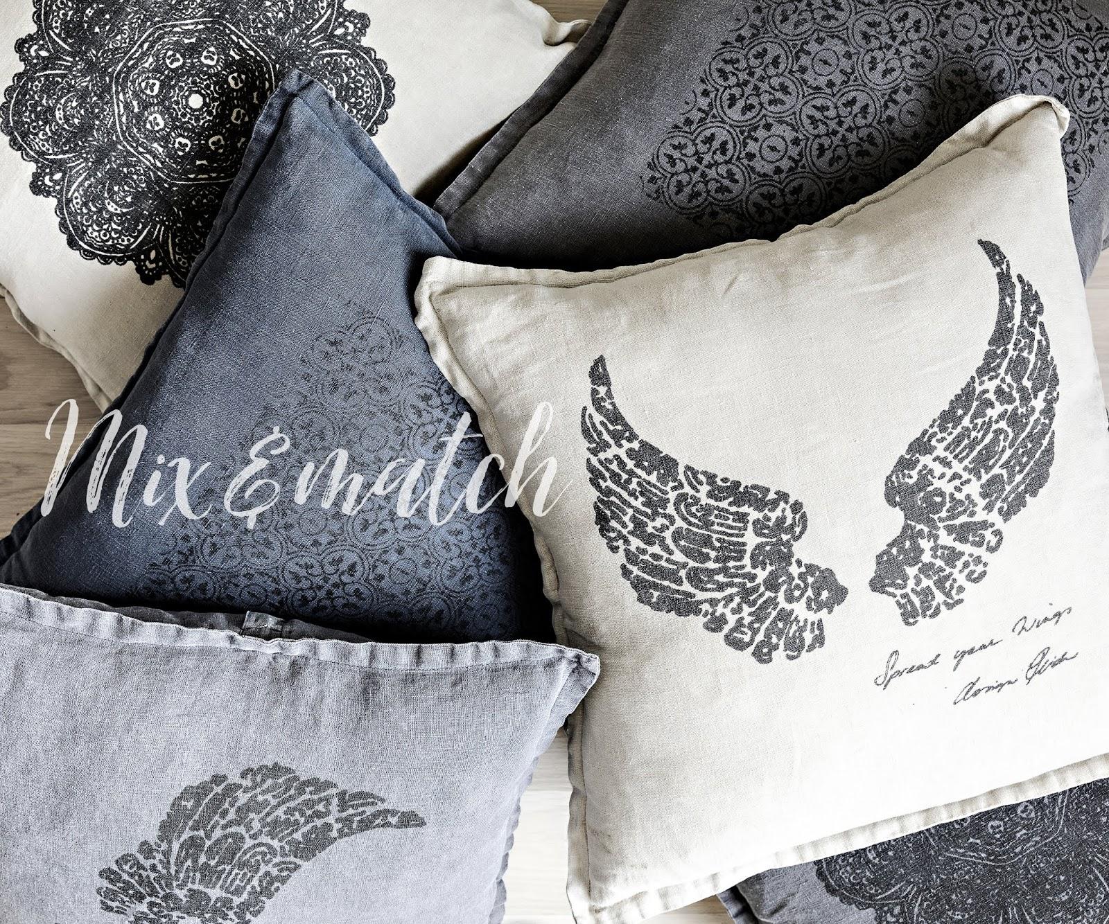 Pellava, pellavatyyny, linen, kodin tekstiili, sisustustyyny, tyyny, käsityö, käsin painettu, painotyö, kankaanpainanta