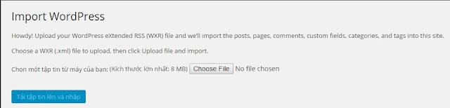 Cách import file lớn hơn mặc định trong wordpress 1