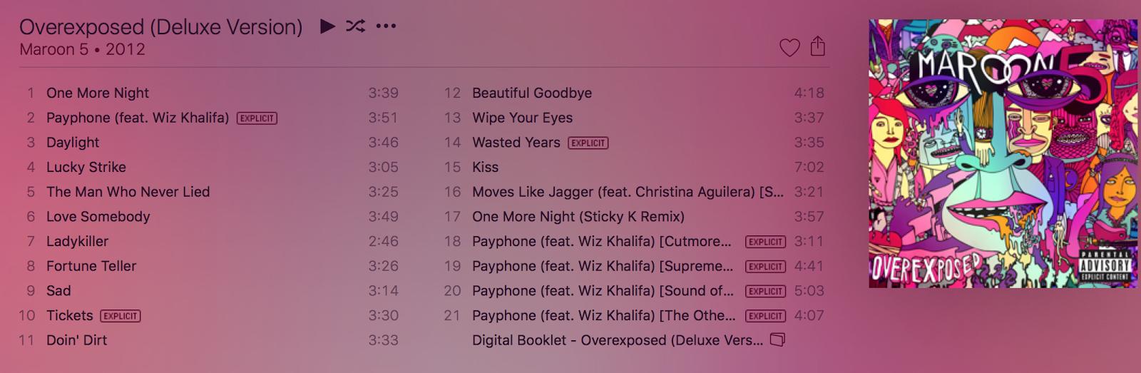 Maroon 5 - Overexposed (Deluxe Version) [iTunes Plus AAC ...