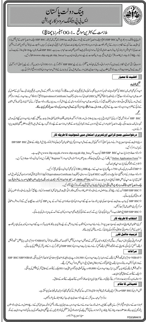 Offciers Jobs in State Bank of Pakistan