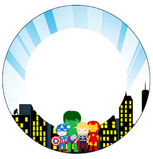 Toppers o Etiquetas de Los Vengadores Chibi para imprimir gratis.