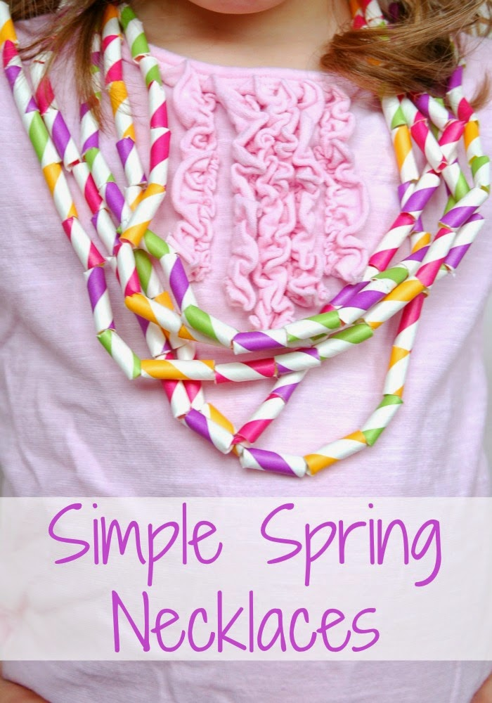 Simple Spring Necklaces- Fun fine motor craft for kids. Great for spring or Easter! Also great to work on patterning or other math skills.