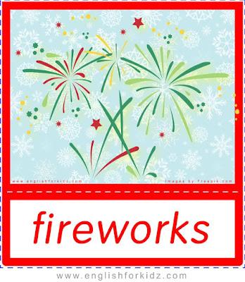 fireworks, Christmas holiday flashcards