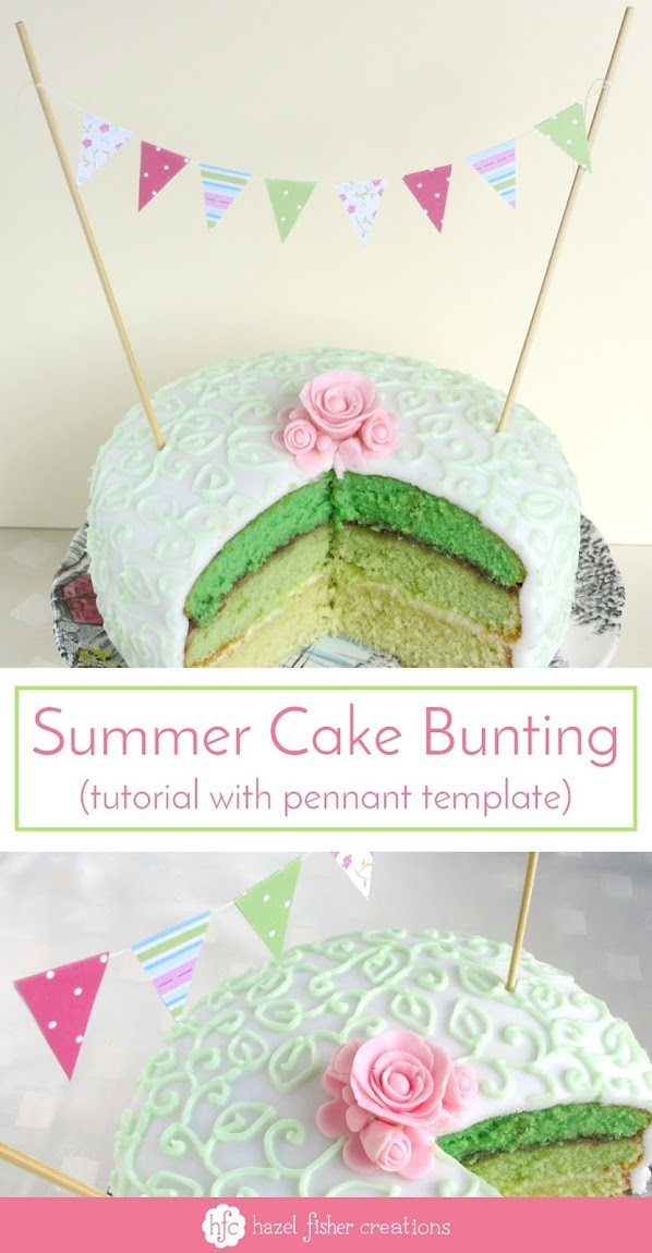 Summer Cake bunting - tutorial to make mini bunting for cakes with a pennant template by Hazel Fisher Creations