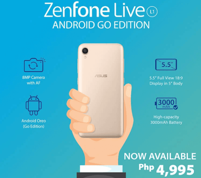 ASUS ZenFone Live L1 (Go Edition) now available in the Philippines, priced at PHP4,995