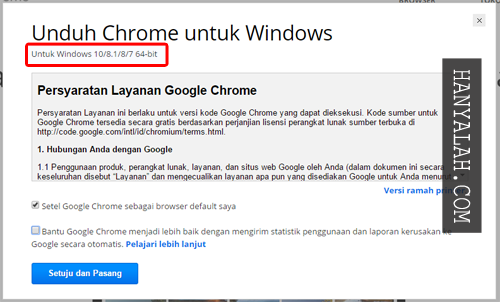 mengganti Google Chrome 32-bit menjadi 64-bit