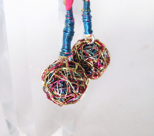 Ball earrings, colorful earrings, contemporary jewelry
