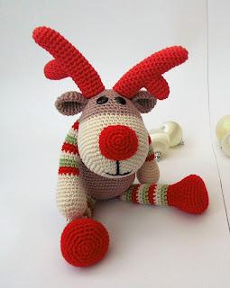 põhjapõder-amigurumi-heegeldatud-pehme mänguasi - jõulud