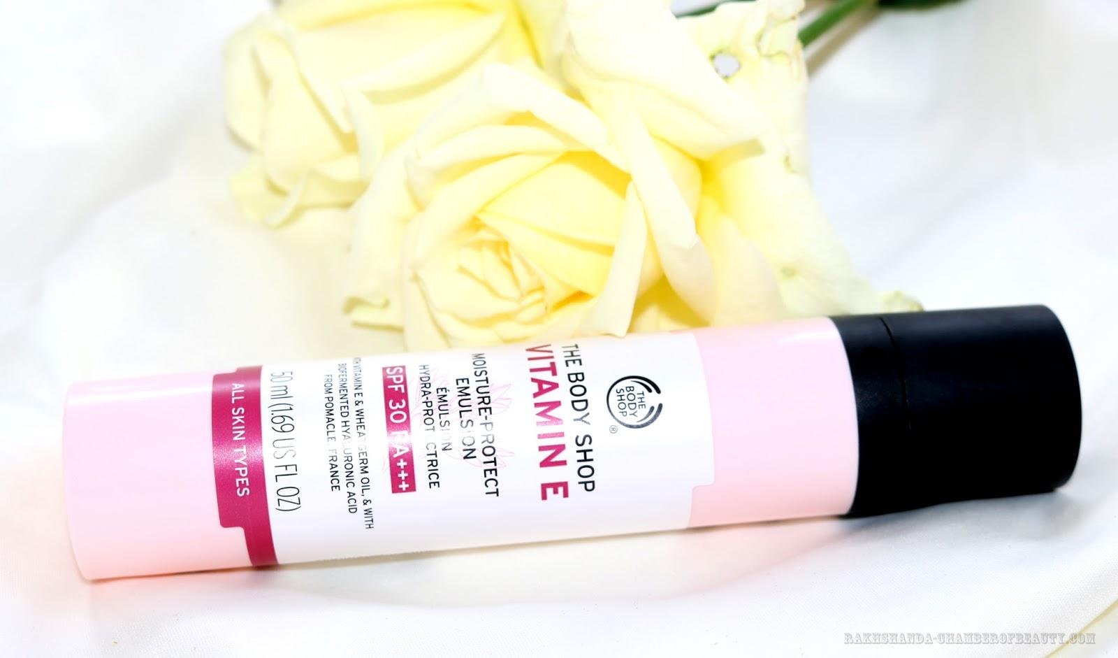 Review - The Body Shop Vitamin E Moisture-Protect Emulsion SPF30/PA+++,Indian beauty blogger, rakhshanda-chamberofbeauty.com