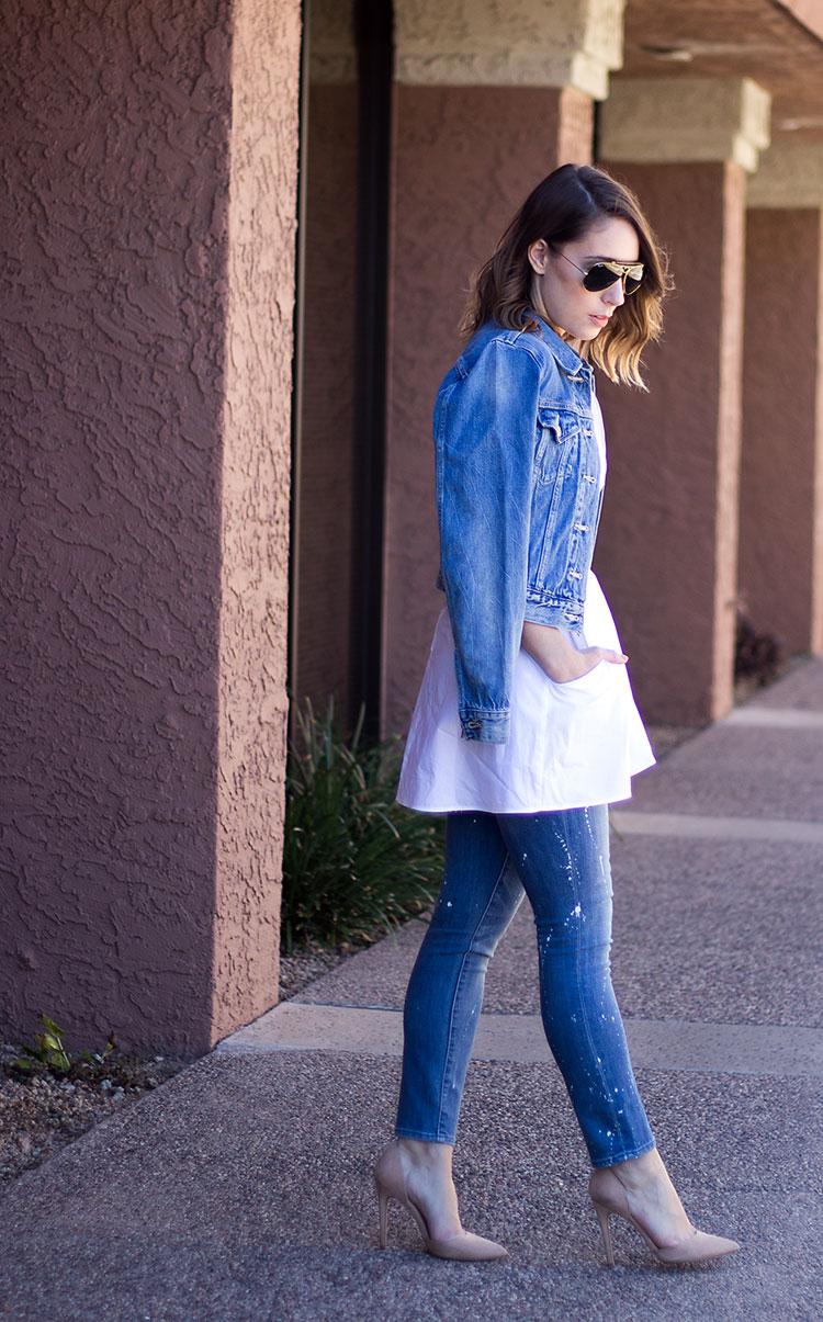 Denim on Denim outfit, spring fashion, pain splatter jeans for women, paint splatter jeans, Levi's denim jacket, denim jacket, ray-ban aviators, sunglasses shop, spring fashion