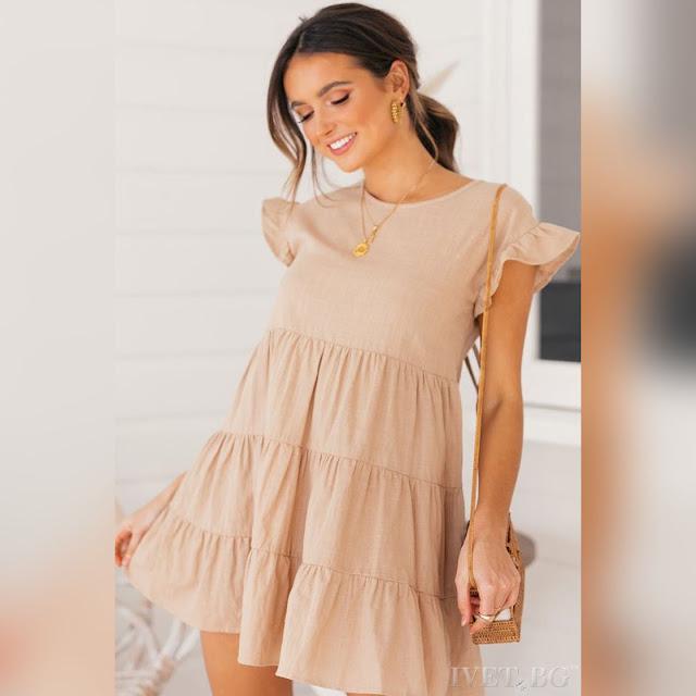 Κοντομάνικο κοντό μπεζ φόρεμα MARONIA BEIGE