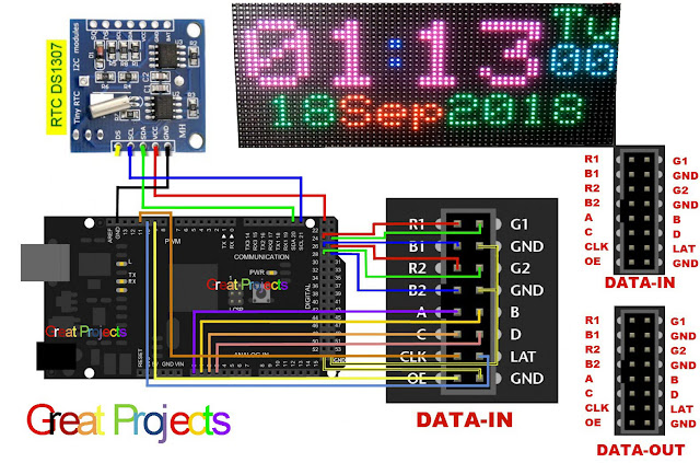 Great Projects: RGB Led Matrix Clock With Arduino