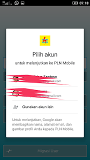 Pilih akun google yang akan dijadikan akun untuk menjadi pengguna aplikasi PLN Mobile