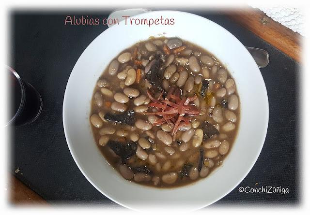Alubias Con Craterellus Cornucopioides