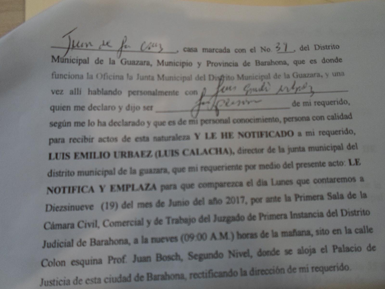 Elevan acción de amparo en contra de director de Junta de La Guázara por violar ley 200-04