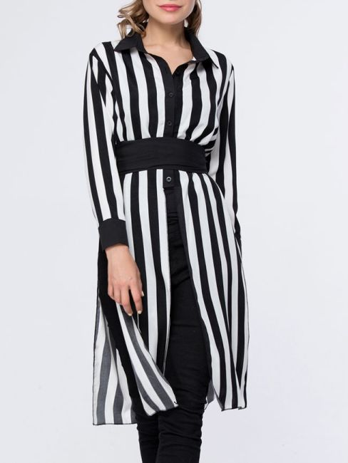 Vertical Striped Turn Down Collar Side-Vented Blouse-FashionMia Price US$19.95; Flash Sale (Extra 25% Off): US$14.96