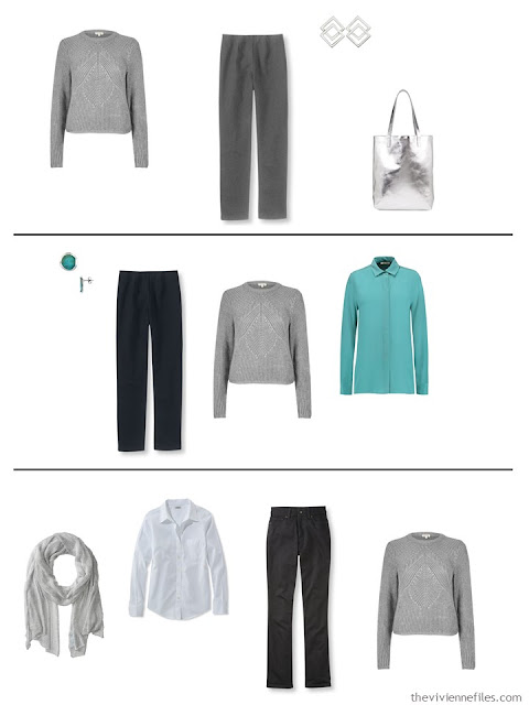 three capsule wardrobe outfits with a silver sweater