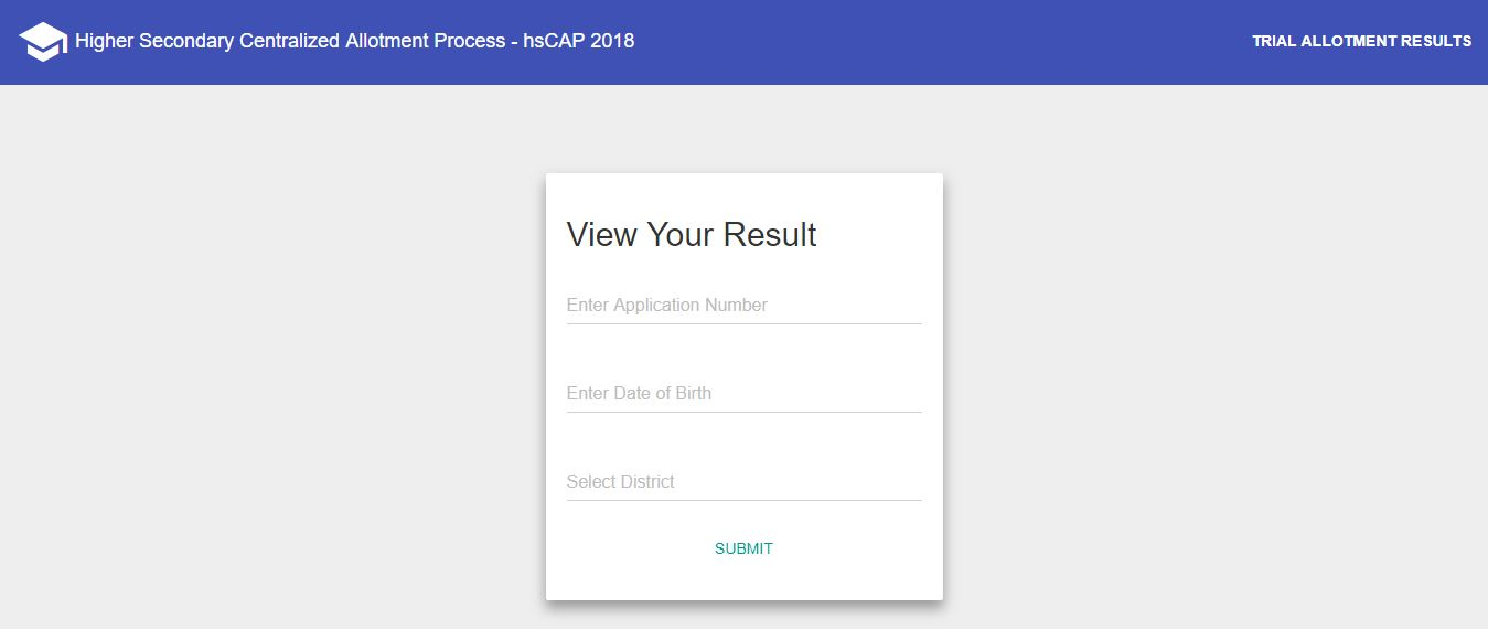 Kerala Plus one admission result, Plus one trial allotment 2018, Kerala HSCAP trial allotment