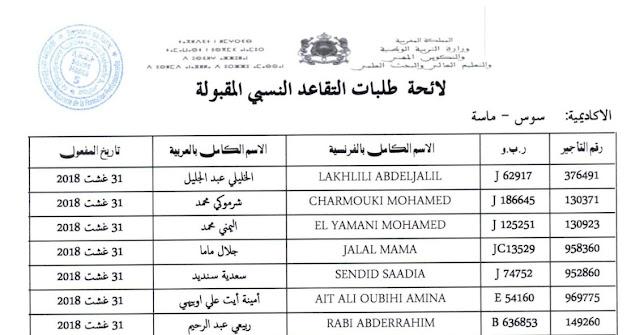 لوائح التقاعد النسبي المقبولة بجهة سوس ماسة 31غشت 2018