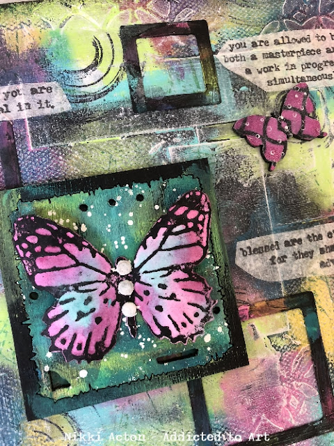 Canvas with Dina Wakley paints and Tim Holtz stamp sets - Perspective and Theories