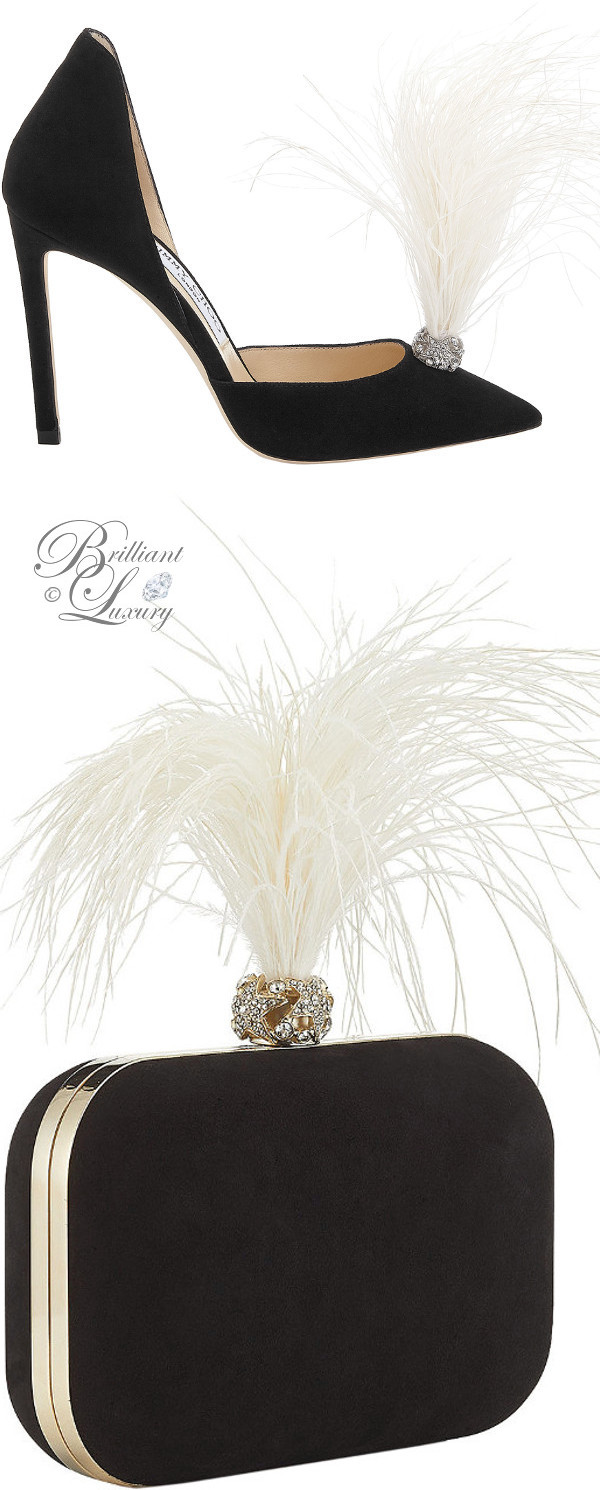 optimized pins Brilliant Luxury ♦ Jimmy Choo Liz Black Suede Pointy Toe Pumps and Cloud Clutch Bag with Crystals and Fascinator Feathers