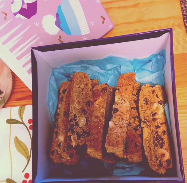 Hazelnut and chocolate biscotti