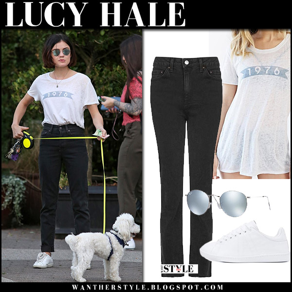Lucy Hale in white tee and black topshop jeans walking her dog august 23 2017