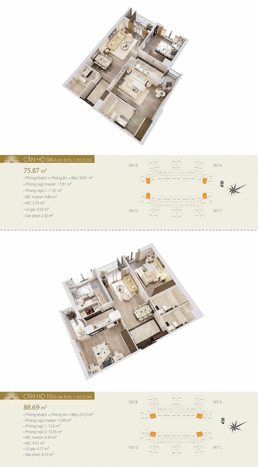 Mặt bằng chi tiết căn hộ 04 và 10 - Imperia Sky Garden