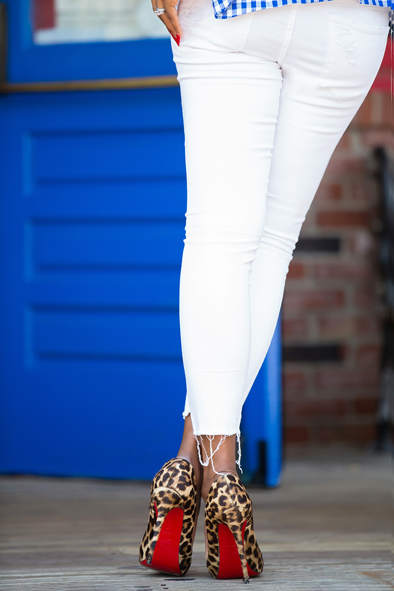 July fourth outfit, skinny jeans, christian louboutin leopard pumps,www.jadore-fashion.com