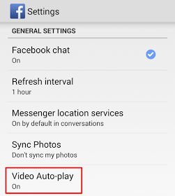 Facebook Video Auto-play settings