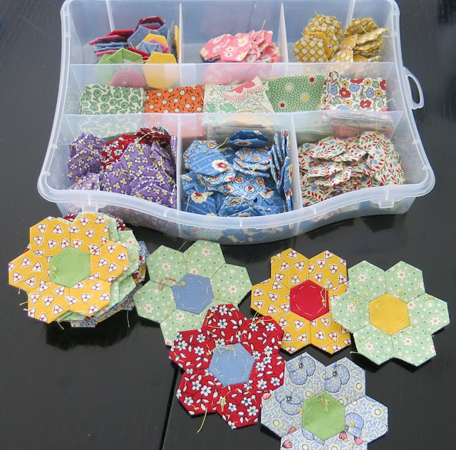 Grandmother's flower garden blocks by Paula