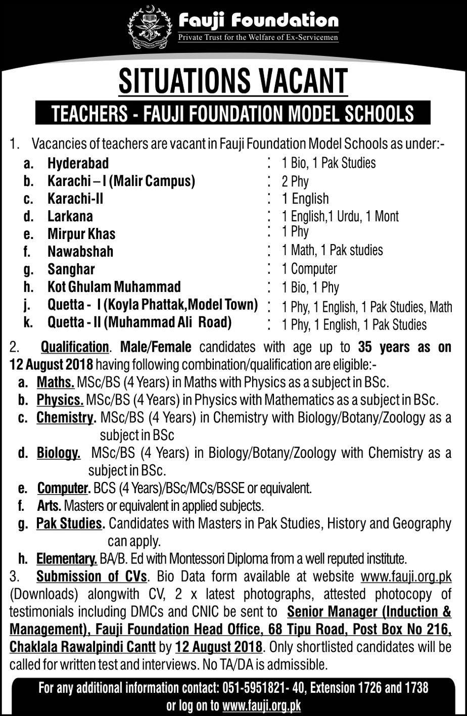Fauji Foundation Schools Jobs August 2018 - Male/Female Teachers