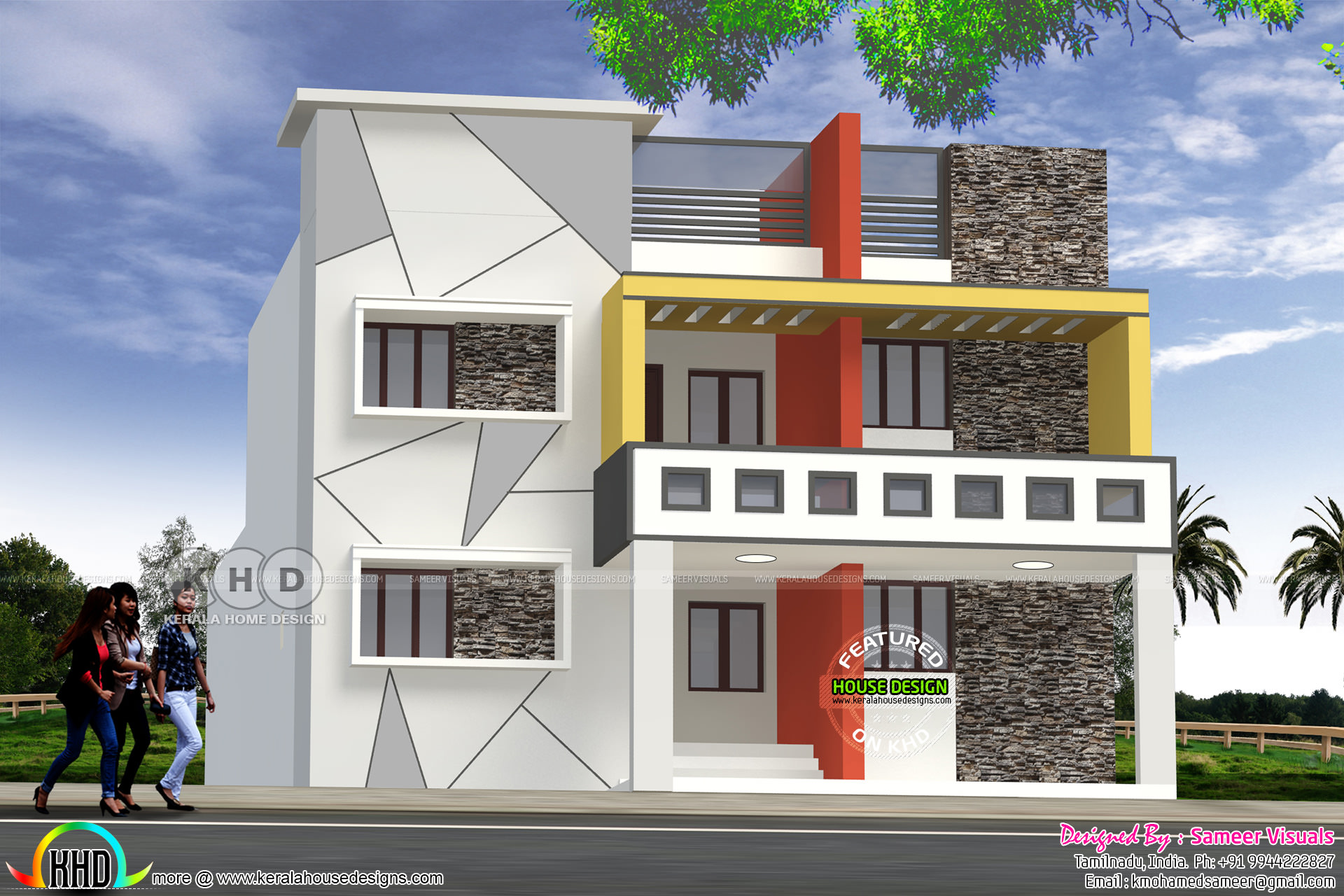 Modern style 6 bedroom house in tamilnadu kerala home for Bedroom designs tamilnadu