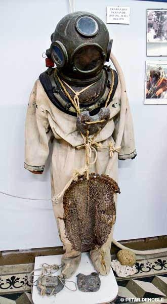 A scaphandro suit used by sponge divers is on display at the Nautical-Sea World Museum in Kalymnos.