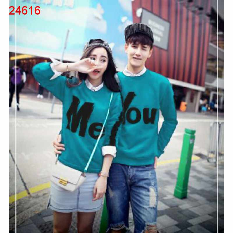 Jual Sweater Couple Sweater You Me Stripe Tosca - 24616