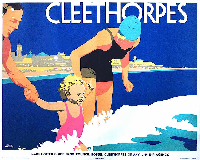 a Frank Newbould travel poster for Cleethorpes, little girl at the beach