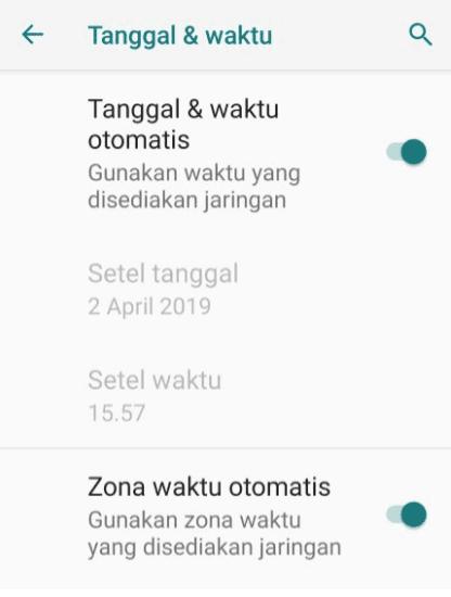 Pengaturan Tanggal Waktu Android