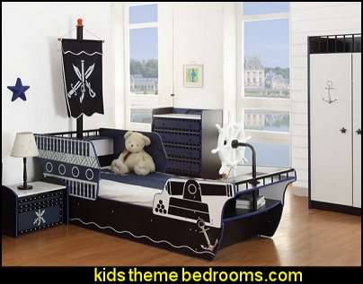 Pirate Bed theme beds - novelty furniture - woodworking bed plans - unique furniture - novelty furniture - themed furniture - themed beds - castle themed bed - castle loft beds - boat bed - Pirate Ship Bed - BATMOBILE BED - train bed - princess carriage beds - Doll house Beds